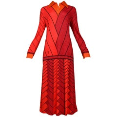 Red & Orange Chevron Day Dress