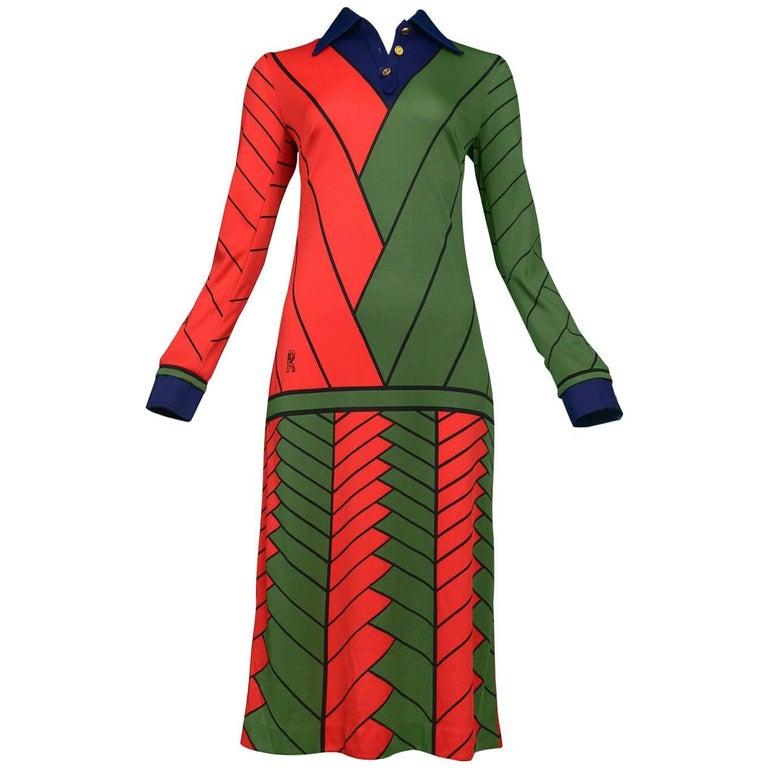 Red Green & Navy Chevron Day Dress