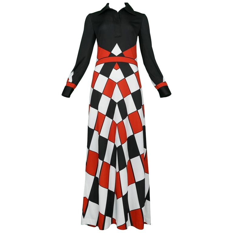 Roberta di Camerino Trompe Red, Black & White Check Maxi Dress