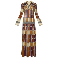 Roberta di Camerino Brown Tan & Purple Window Panel Maxi Dress