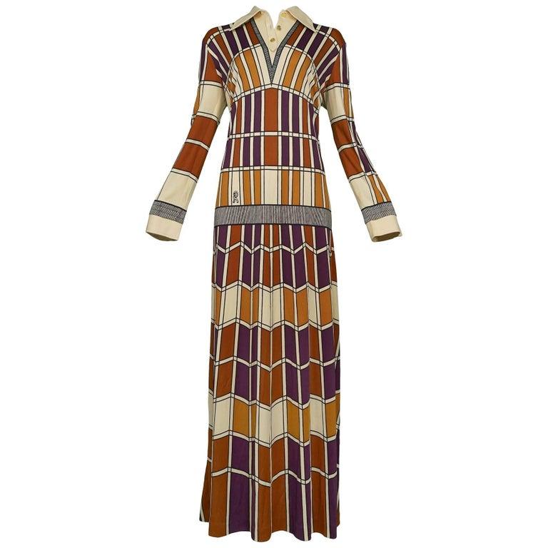 Roberta di Camerino Brown Tan & Purple Window Panel Maxi Dress