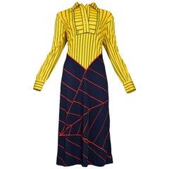 Roberta di Camerino Yellow, Red & Blue Stripe Day Dress