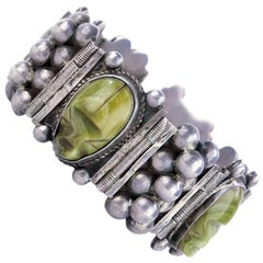 1940s Mexican Silver Bracelet with Green Agate Mask Links