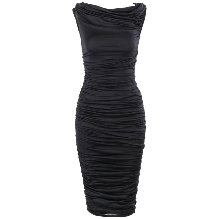 GIAMBATTISTA VALLI Black Silk Jersey Knit Ruched Bodycon Cocktail Dress