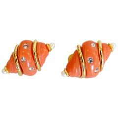 1990s Kenneth Jay Lane Shell Earrings