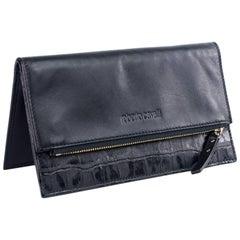 Roberto Cavalli Black Leather Wallet/Travel Organizer Card Holder