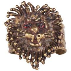 1970's Pal Kepenyes Brutalist Modernist Bronze Lion Cuff Bracelet