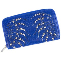 Roberto Cavalli Womens Electric Blue Studded Zip Continental Wallet