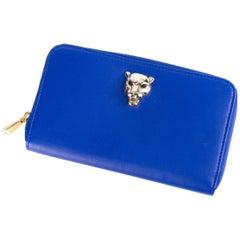Roberto Cavalli Womens Blue Leather Zip Around Panther Head Wallet