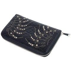 Roberto Cavalli Womens Black Silver Studded Zip Continental Wallet