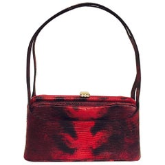 Exciting Emanuel Ungaro Faux Lizard Red and Black Two Handle Bag