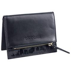 Roberto Cavalli Mens Black Leather Croc-Embossed Wallet Card Holder