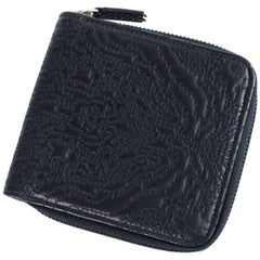 Roberto Cavalli Black Leather Abstract Pattern Zip Around Wallet