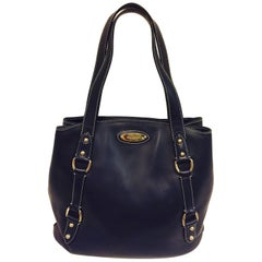 Savvy and Smart St. John Navy Two Strap Leather Tote W Gold Tone Hardware