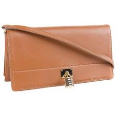 Roberto Cavalli Womens Brown Leather Classic Clutch w/Strap