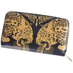 Roberto Cavalli Womens Black Gold Panther Leather Zip Around Wallet
