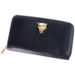 Roberto Cavalli Womens Black Leather Zip Around Panther Head Wallet