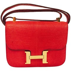 True Heritage Hermes Constance Red Lizard Micro Shoulder Bag