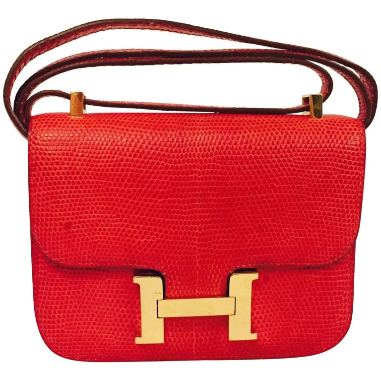 True Heritage Hermes Constance Red Lizard Micro Shoulder Bag For