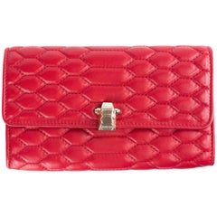 Roberto Cavalli Womens Red Quilted Stitch Hera Wallet