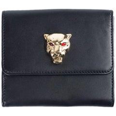 Roberto Cavalli Women's Black Leather Gold Tone Panther Wallet