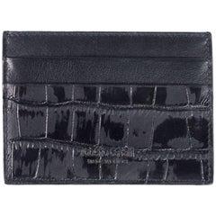 Roberto Cavalli Men's Croc-Embossed Black Leather Cardholder wallet