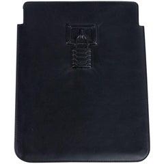 Roberto Cavalli Black Leather iPad Sleeve With a Logo
