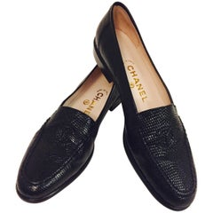 Classic Chanel Black Lizard Loafers With Stitched CC Logo