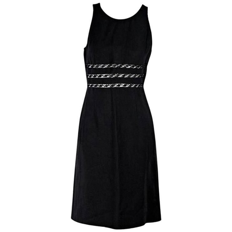 Black Valentino Lace-Trimmed Sheath Dress