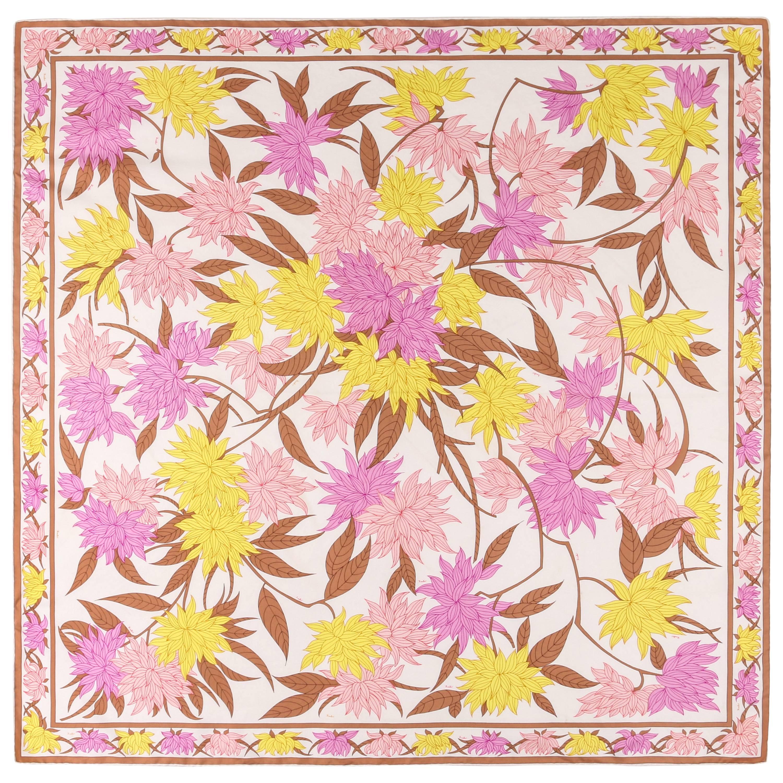 """EMILIO PUCCI c.1974 """"Miri"""" Print Winter White Multicolor Floral Silk Scarf"""