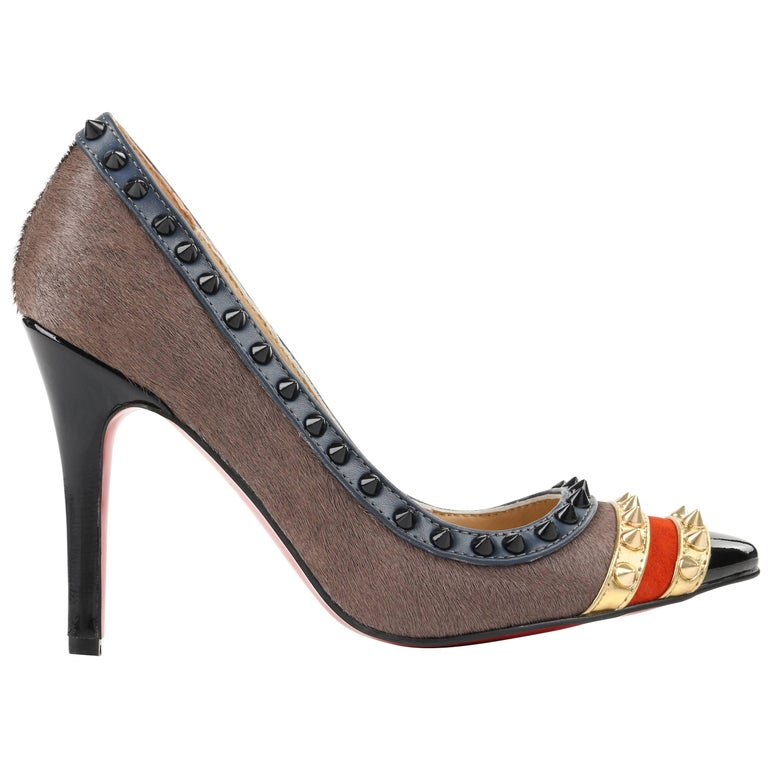 "CHRISTIAN LOUBOUTIN A/W 2013 ""Malabar Hill"" Gray Calf Hair Studded Leather Pumps"