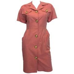 1990s Bill Blass Salmon Pink Button Up Uniform Suit Dress