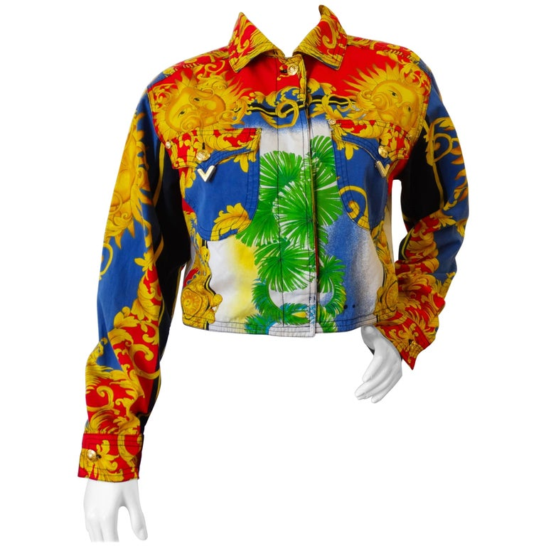 896e0790afcf Gianni Versace Baroque Sun Miami Print Jeans Jacket Spring 1993 For Sale