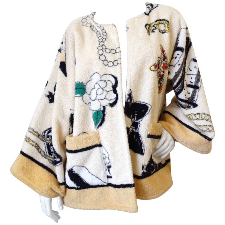 "1994 Spring/Summer Chanel ""Iconic"" Print Terrycloth Beach Wrap/Robe For Sale"