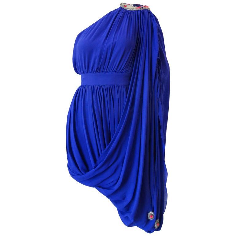 Temperley True Blue Grecian One Shoulder Dress