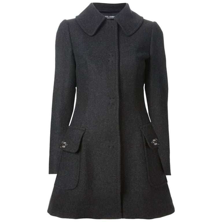 Dolce & Gabbana Grey Wool Swing Coat sz M For Sale