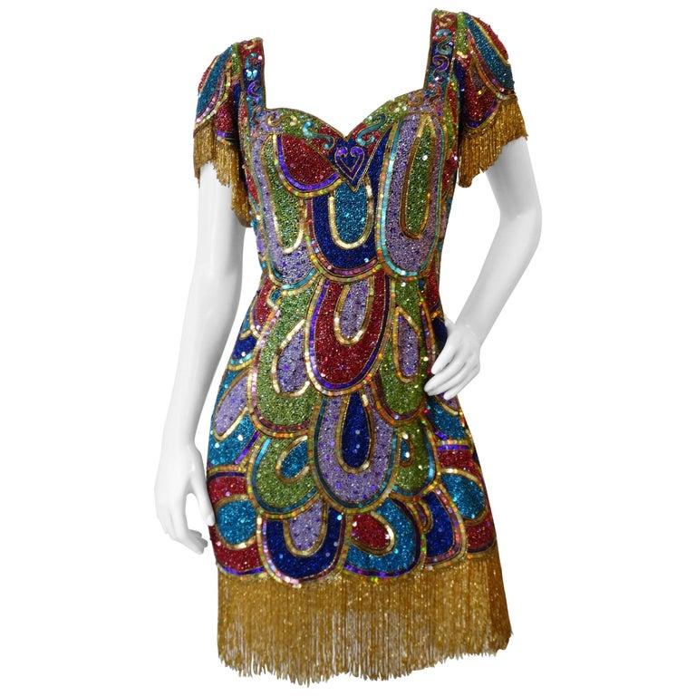 1980s Sequin Sweetheart Beaded Mini Dress