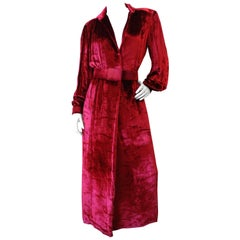 1980's William Travilla Crushed Velvet Dress