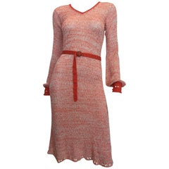 1970s Helga Howie Knit Red/White Space Dye Dress