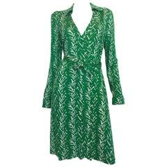 Diane von Furstenberg Green Print Classic Wrap Dress