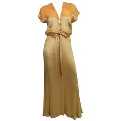 1970S Hollys Harp Gold Silk Evening Gown