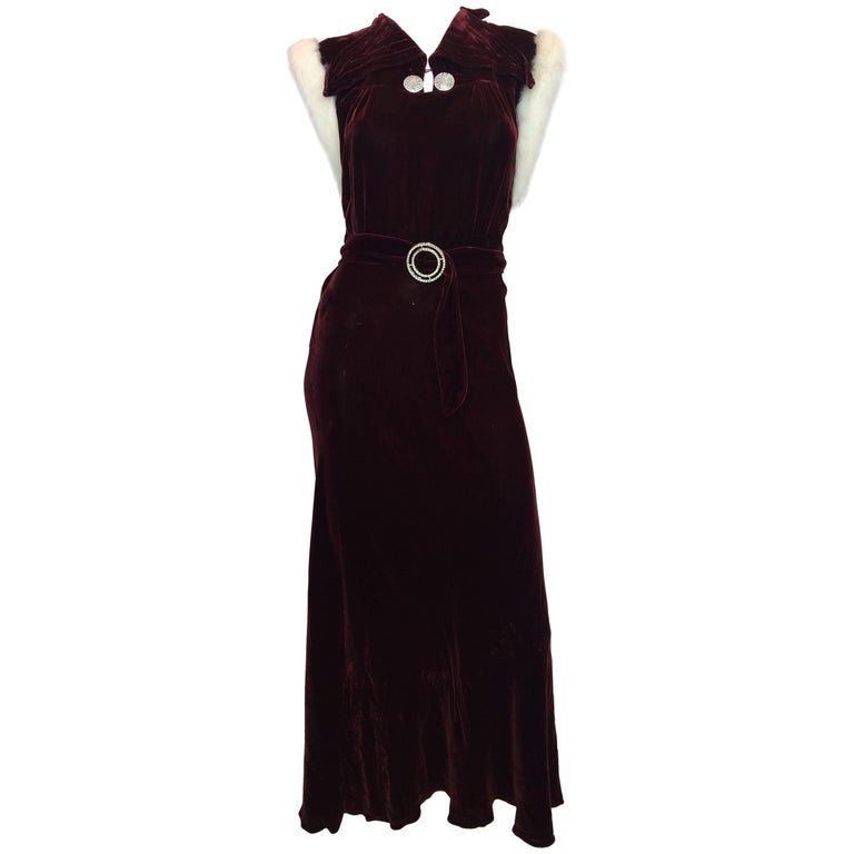 1930's Burgundy Velvet Dress with Rabbit Fur Trimmed Sleeves For Sale