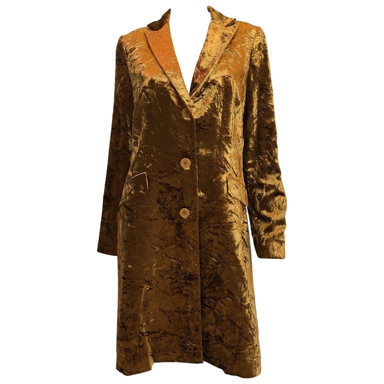 ETRO Contemporary Gold Crushed Velvet Jacket For Sale