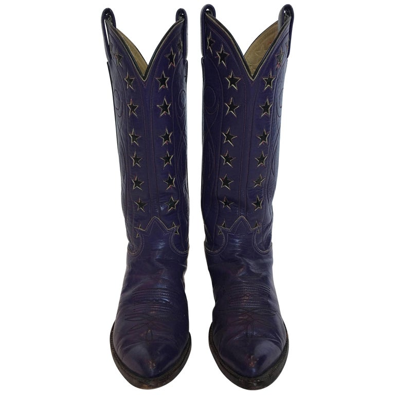 5e480d33e96 Tony Lama Vintage Purple Cowboy Boots with Stars For Sale at 1stdibs