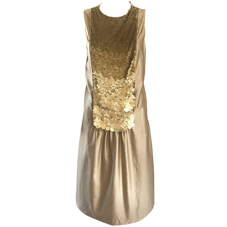 Luca Luca Size 42 Gold Metallic Silk Deco Style Sequin Bib 20s Style Shift Dress