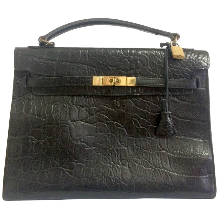 Vintage Mulberry croc embossed black leather Kelly bag.Classic bag by Roger  Saul 1583509cc6fc4
