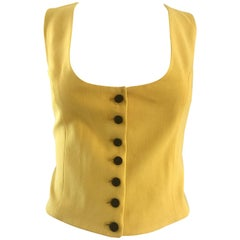 1990s Moschino COUTURE Size 10 Yellow Wool + Silk Vintage Cropped Waistcoat Vest