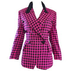 Vintage Escada by Margaretha Ley 1990s Hot Pink + Black Double Breasted Blazer