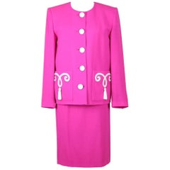 Yves Saint Laurent YSL Pink Passementerie Tassel Jacket And Skirt Suit, 1990s