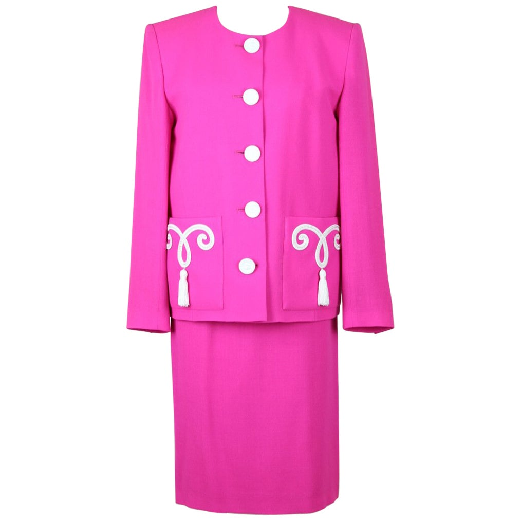 Yves Saint Laurent YSL Pink Passementerie Tassel Jacket And Skirt Suit, 1990s